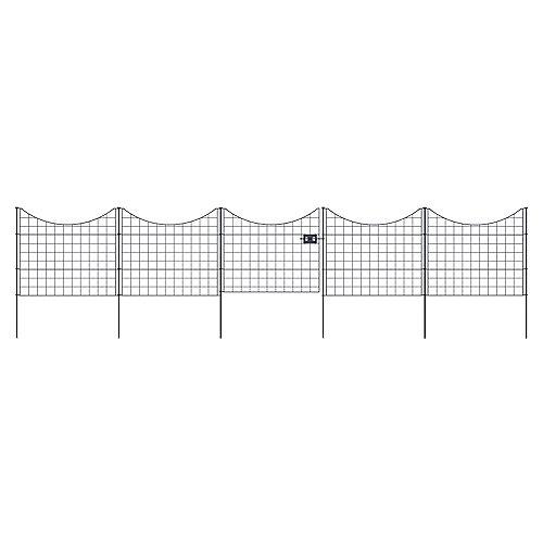 Barrière en métal noir Zippity avec 4 panneaux de clôture 2 1/2 pi L x 2 pi H (76,2 x 61 cm)