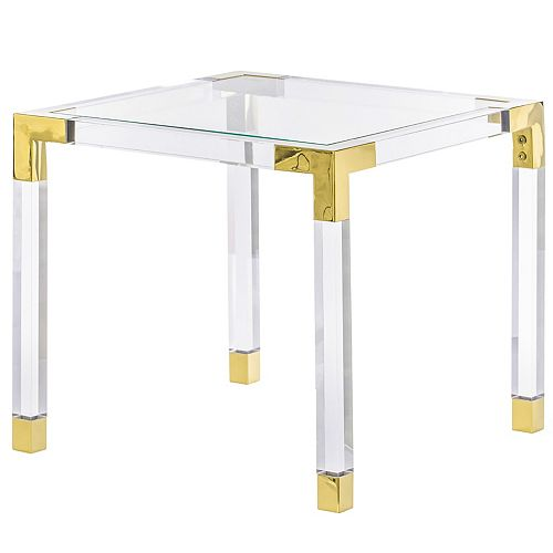 Square Acrylic Gold Metal Modern Tempered Glass Coffee Table