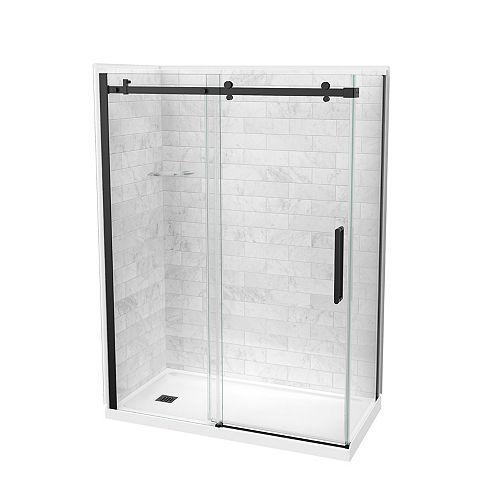 Utile 60-inch x 32-inch x 84-inch Marble Carrara Corner Shower Kit Left Drain with Door in Black