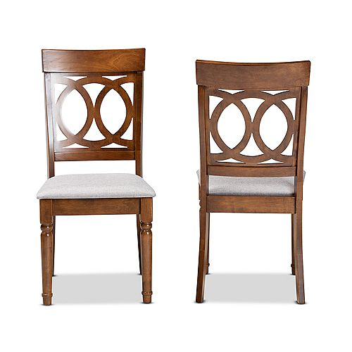 Baxton Studio Lucie Fabric Dining Chair in Grey and Walnut Brown (2-pack)