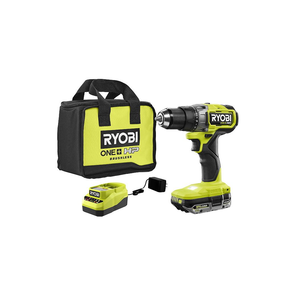 RYOBI 18V ONE+ HP Brushless Cordless 1/2 in. Drill/Driver Kit with (1) 2.0 Ah HIGH PERFORMANCE Battery and Charger