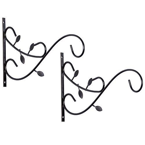 Gardenised Decorative Metal Wall Mounted Hook for Hanging Plants, Bracket Hanger Flower Pot Holder, 2 Pack