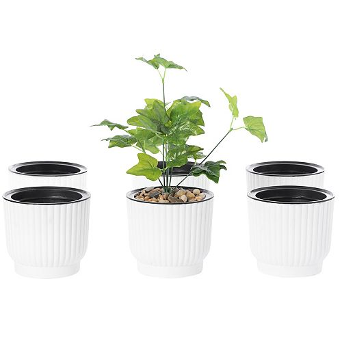 White Flower Pot Self Watering Planter, 6 Pack