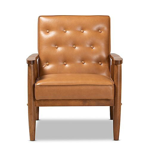 Sorrento Faux Leather Lounge Chair in Tan and walnut brown