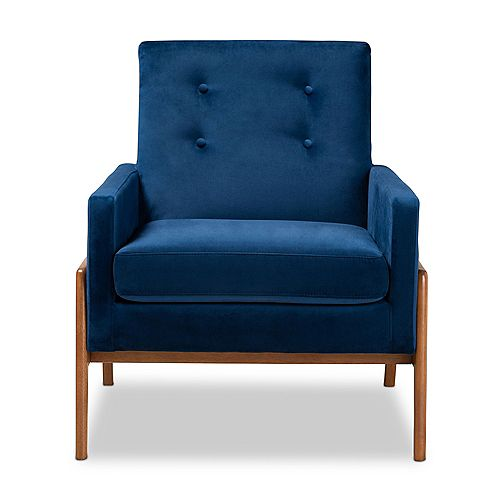 Perris Fabric Lounge Chair in Navy blue and walnut brown