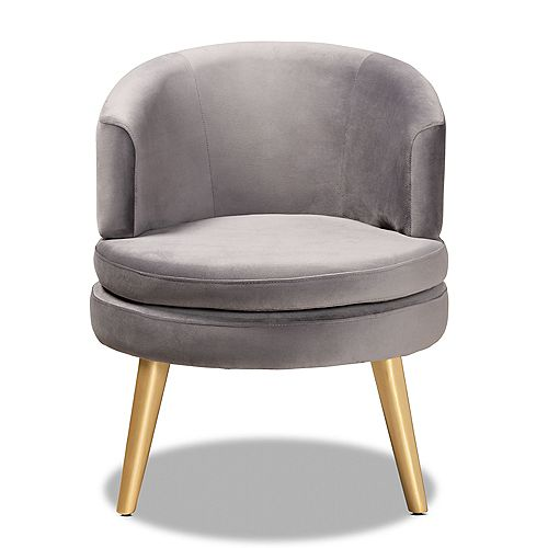 Baptiste Fabric Accent Chair in Grey and gold