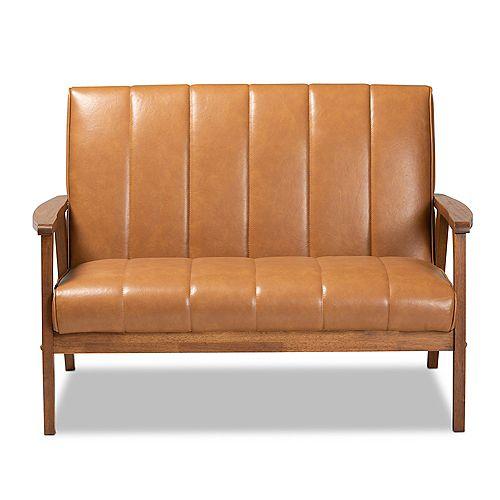 Baxton Studio Nikko Faux Leather Loveseat in Tan and walnut brown