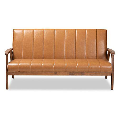Baxton Studio Nikko Faux Leather Sofa in Tan and walnut brown