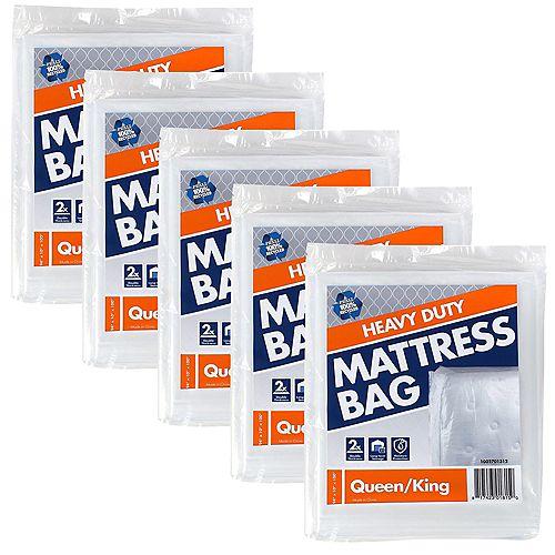 Lot de 5 sacs pour matelas de grand/très grand lit usage intensif de 2,54 m x 2,38 m x 25,4 cm