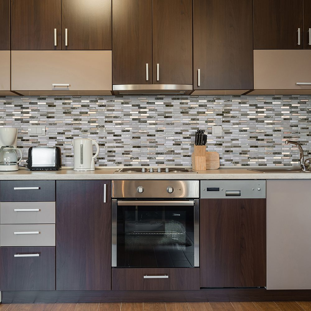 Smart Tiles Milenza Genoa 10 20 Inch W X 9 Inch H Beige Peel And Stick Decorative Wall Til The Home Depot Canada