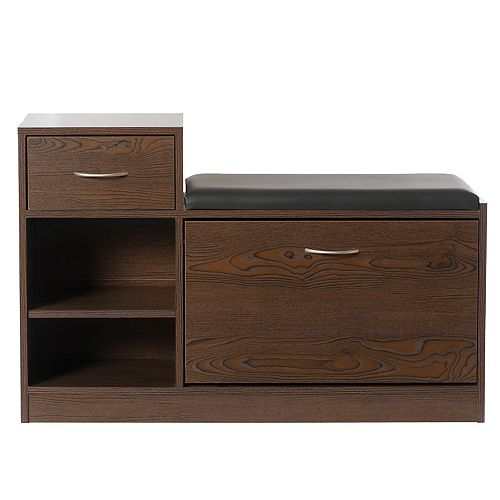 Wooden Entryway Shoe Storage Bench with Cushion, Brown