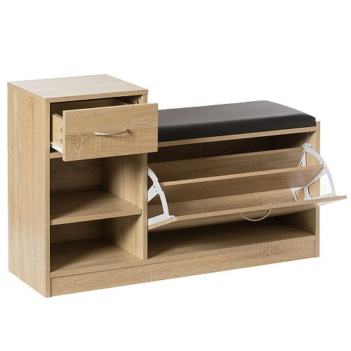 Wooden Entryway Shoe Storage Bench with Cushion, Oak