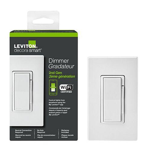Gradateur Decora intelligent 2ème génération 120V 600W INC 300W LED/CFL en blanc
