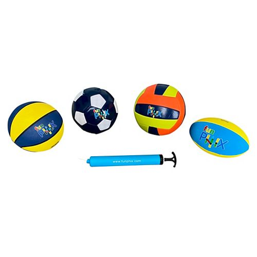 Funphix Set of 4 Balls - Soccer, Rugby, Basketball, Volleyball (Pump Included)