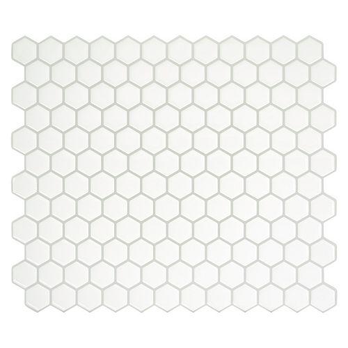 Peel and stick backsplash Hexago tiles, Ceramic look, 11.27in. x 9.63in., White, 4-pack