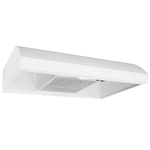 Broan-NuTone 30-inch Convertible Under Cabinet Range Hood, 270 CFM with Ductless Option (Charcoal Filter Sold Separately) in White
