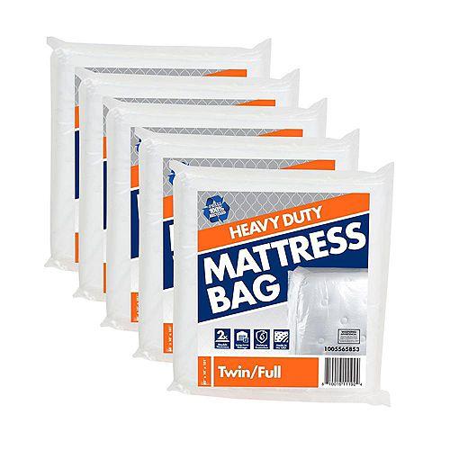 Lot de 5 sacs pour matelas de lit jumeau/double usage intensif de 1,52 m l x 2,56 m L x 25,4 cm P
