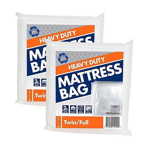 Lot de 2 sacs pour matelas de lit jumeau/double usage intensif de 1,52 m l x 2,56 m L x 25,4 cm P