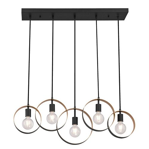 Olympus Five-Light Indoor Chandelier, Matte Black Finish with Textured Gold Accents
