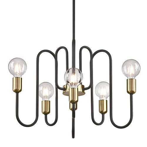 Spencer Six-Light Indoor Chandelier, Matte Black Finish with Antique Brass Accents
