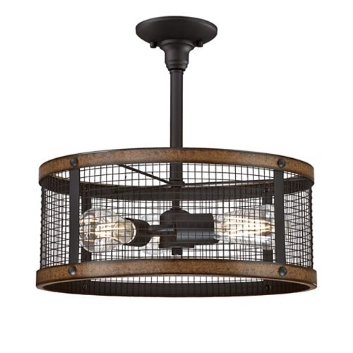 3 Lights Dual Mount Emmett Oil Rubbed Bronze with Barnwood Accents with Mesh Shade Chandelier