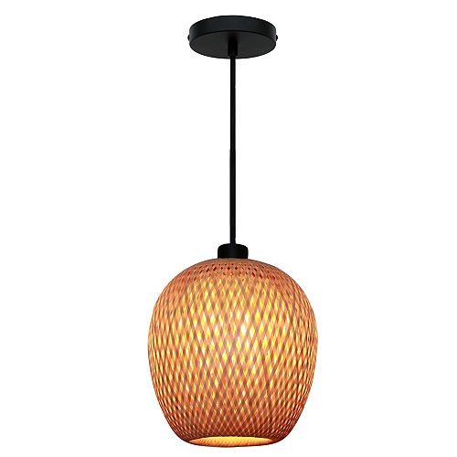 Bernice 10.25 pouce Luminaire suspendu à 1 ampoule, avec abat-jour a rotin