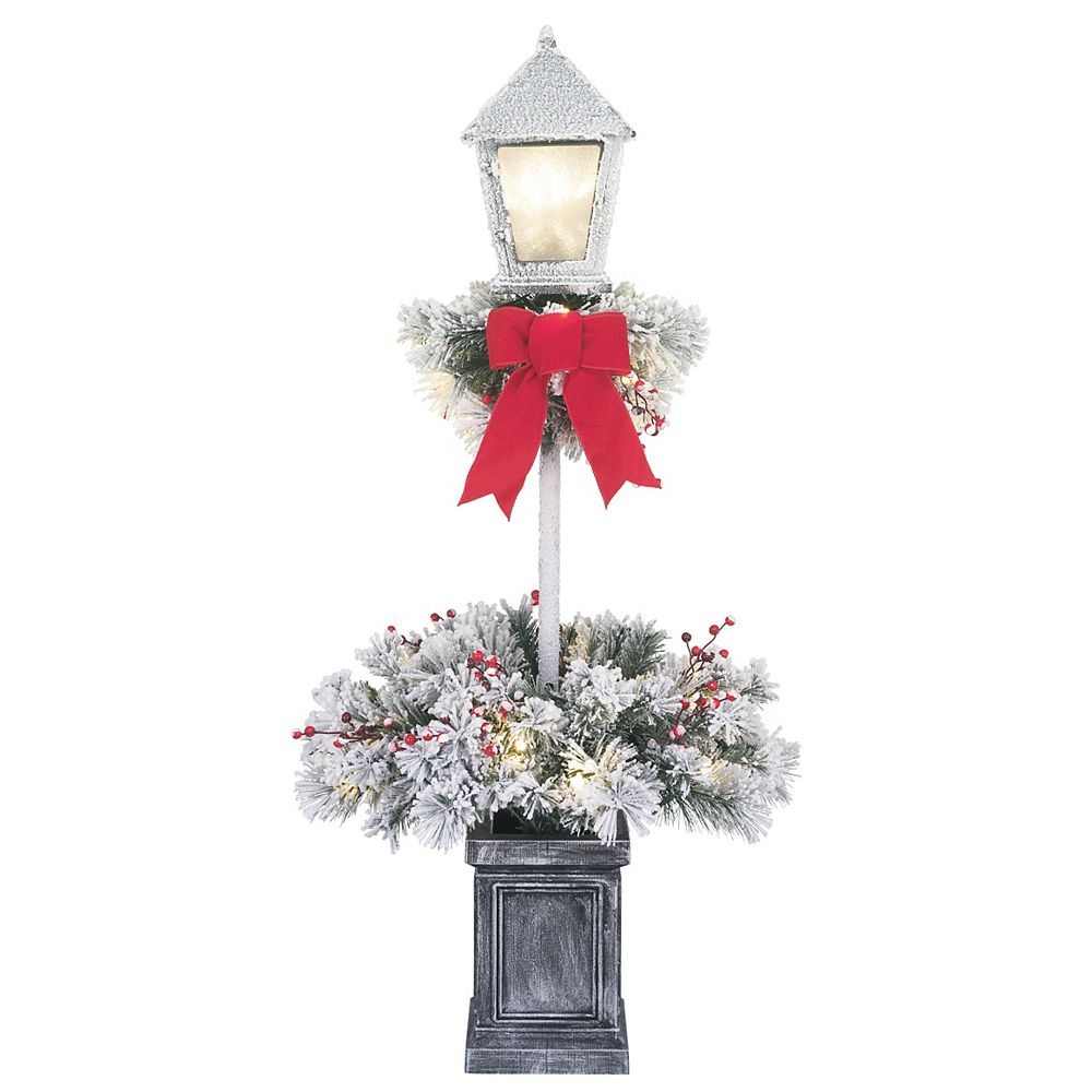 Home Accents Holiday 4 ft. LED Pre-Lit Flocked Potted Tree Lamp Post