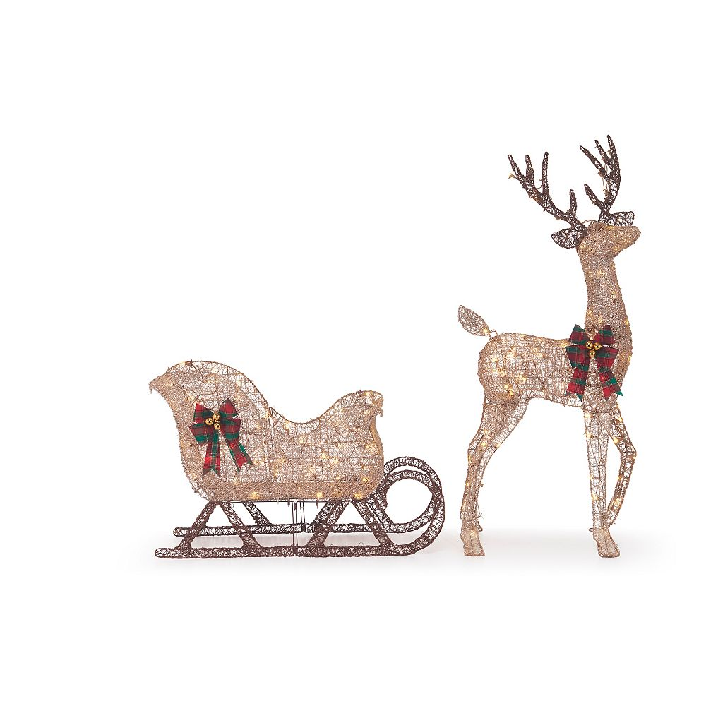 Home Accents Holiday 2-Piece LED Deer and Sleigh