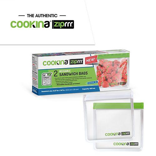 2 Reusable COOKINA ZipRRR  Sandwich and Storage Bags - 20.5 cm  x 20 cm