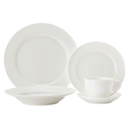 Cashmere White Rim 20 piece dinnerware set