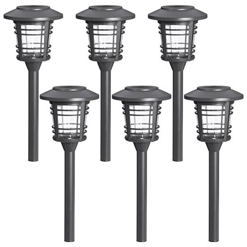 Transitional Style Solar Powered Gunmetal Grey Outdoor Path Light with Kelvin Selector (6-Pack)
