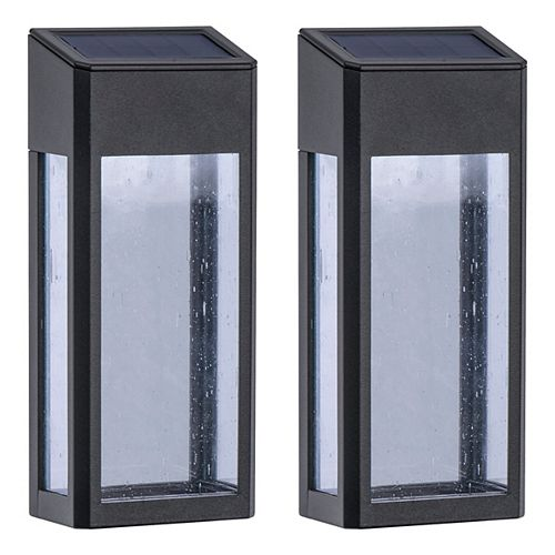 Seeded Glass Square Solar Powered Post Light (2-Pack)