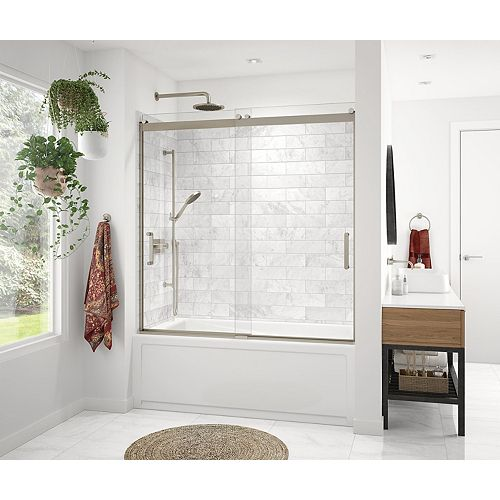MAAX Revelation Round 56 - 59W x 57 - 59.25H Frameless ByPass Tub Door in Brushed Nickel with 8mm Clear Glass