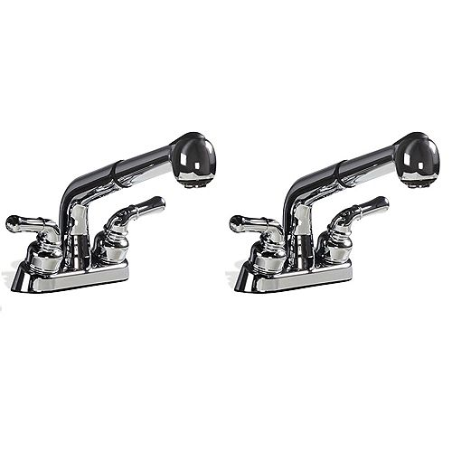 2-Handle Pull-Out Chrome Faucet with Stainless Steel Speedways, Hose Adapter, P-Trap (2 Pk)