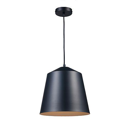 Benjamin luminaire suspendu à 1 ampoule, fini en noir, avec abat-jour en métal