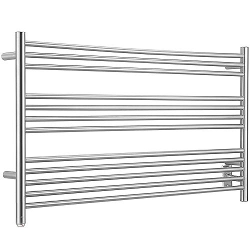 Ancona Amplia Dual 12-Bar Hardwired and Plug-in Towel Warmer in Brushed Stainless Steel