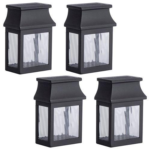 Transitional Style Solar Powered Black Post Light (4-Pack)