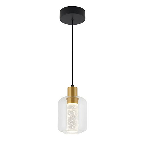 Champagne Globe 1-Light Gold LED Integrated Pendant