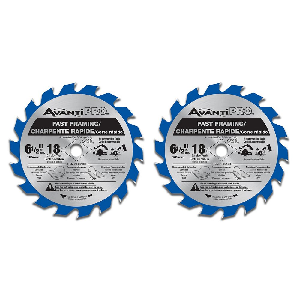 Diablo 6 1/2-inch x 18 Tooth Carbide Tipped Fast Framing Circular/Trim Saw Blade for Wood Cutting (2 Pack)
