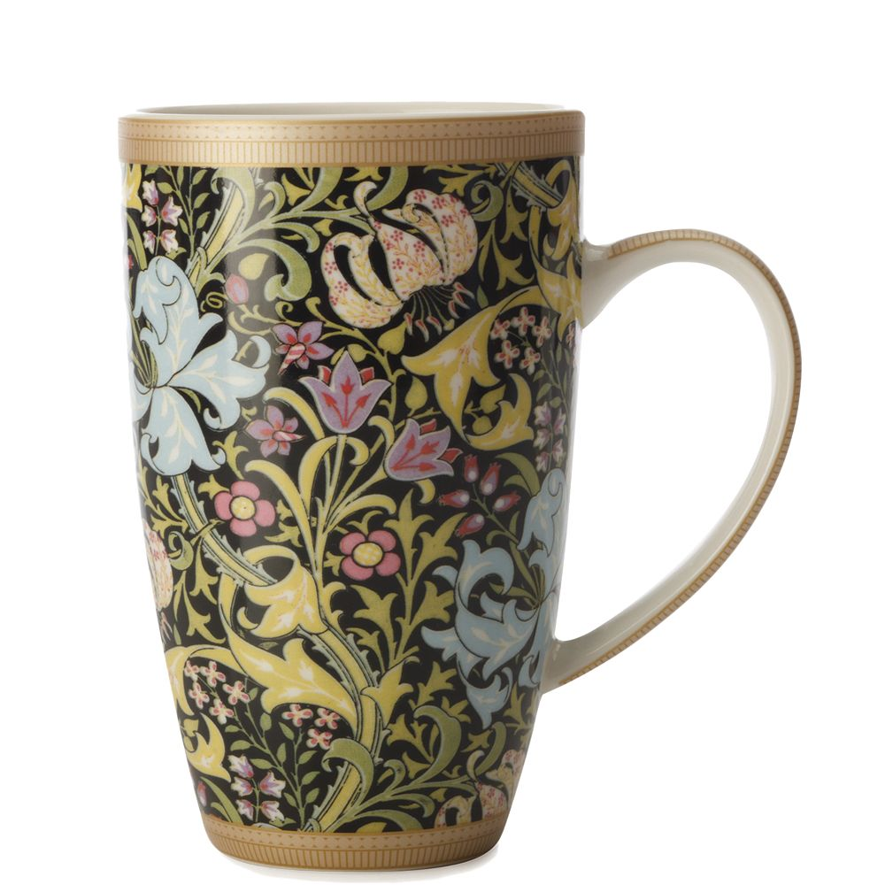 Maxwell & Williams William Morris Lily Black Coupe Mug 420 ml - Pack of 6