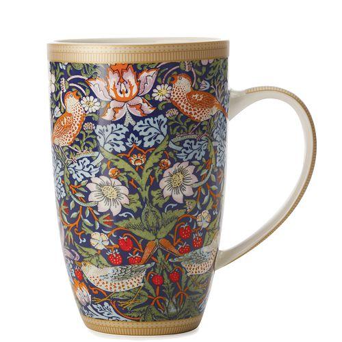 William Morris Strawberry Blue Coupe Mug 420 ml - Pack of 6
