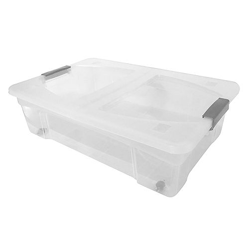Modern Homes 28 L Storage Box with cover   Clear Bin With Grey Handles