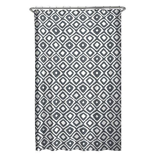 70 inch x 72 inch Diamond Ikat Fabric Shower Curtain in Grey