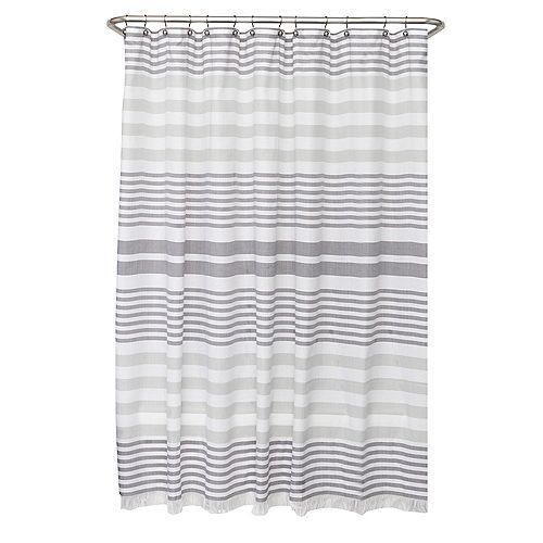 70 inch x 72 inch Hammam Fringe Fabric Shower Curtain
