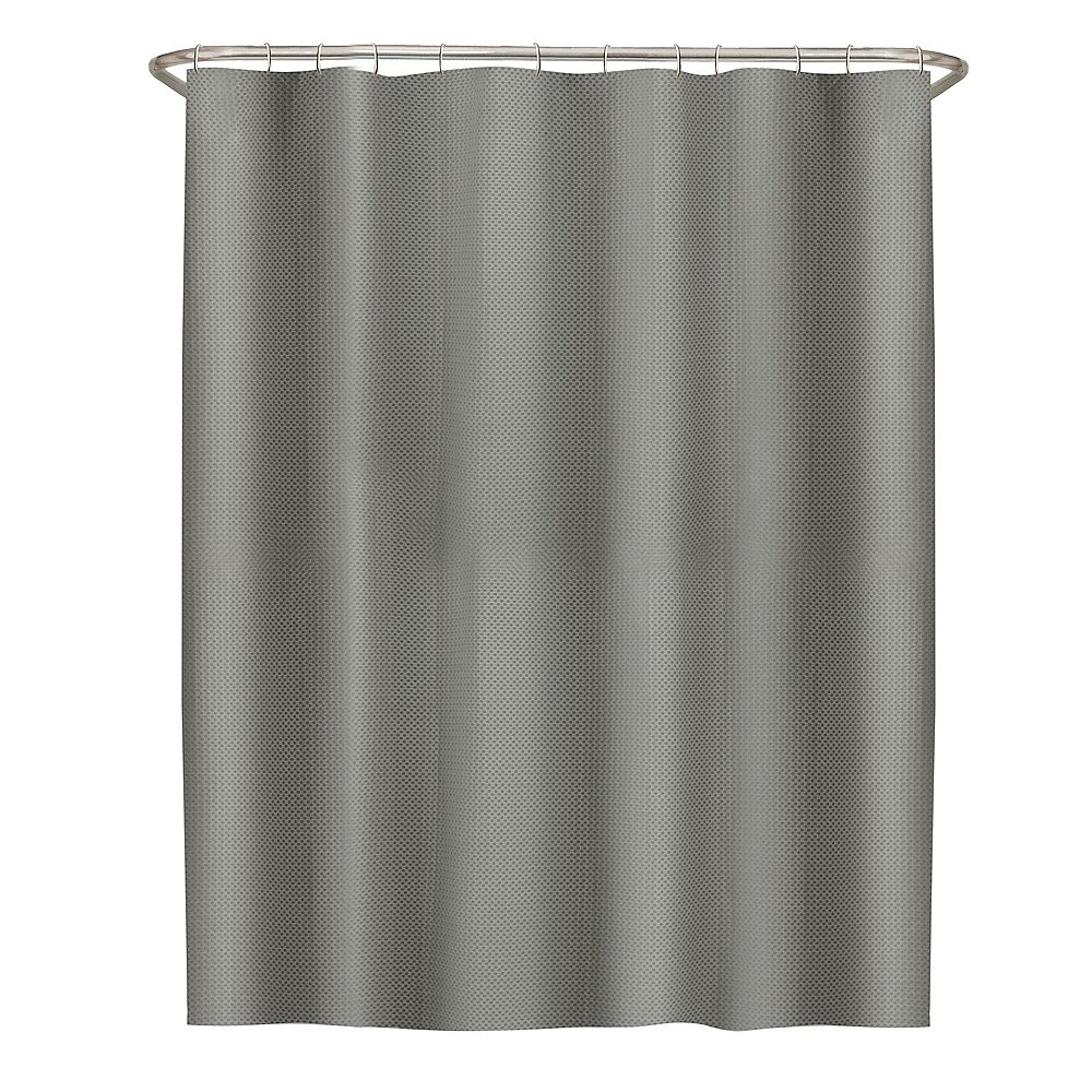 Zenna Home 72 inch x 72 in.chLuxe Waffle Fabric Shower Curtain in Grey