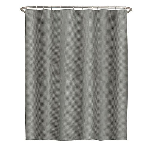 72 inch x 72 in.chLuxe Waffle Fabric Shower Curtain in White