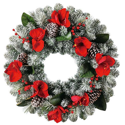 HOME ACCENT HOLIDAY 26IN UN-LIT AMARYLLIS CLUSTERS FLOCKED  WREATH WITH PINECONES