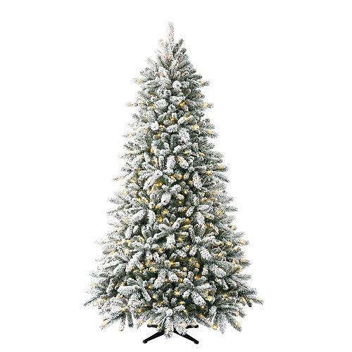 7.5 ft. 550 Warm White Micro LED Pre-Lit Heavy Flocked Quick Set Pine Christmas Tree