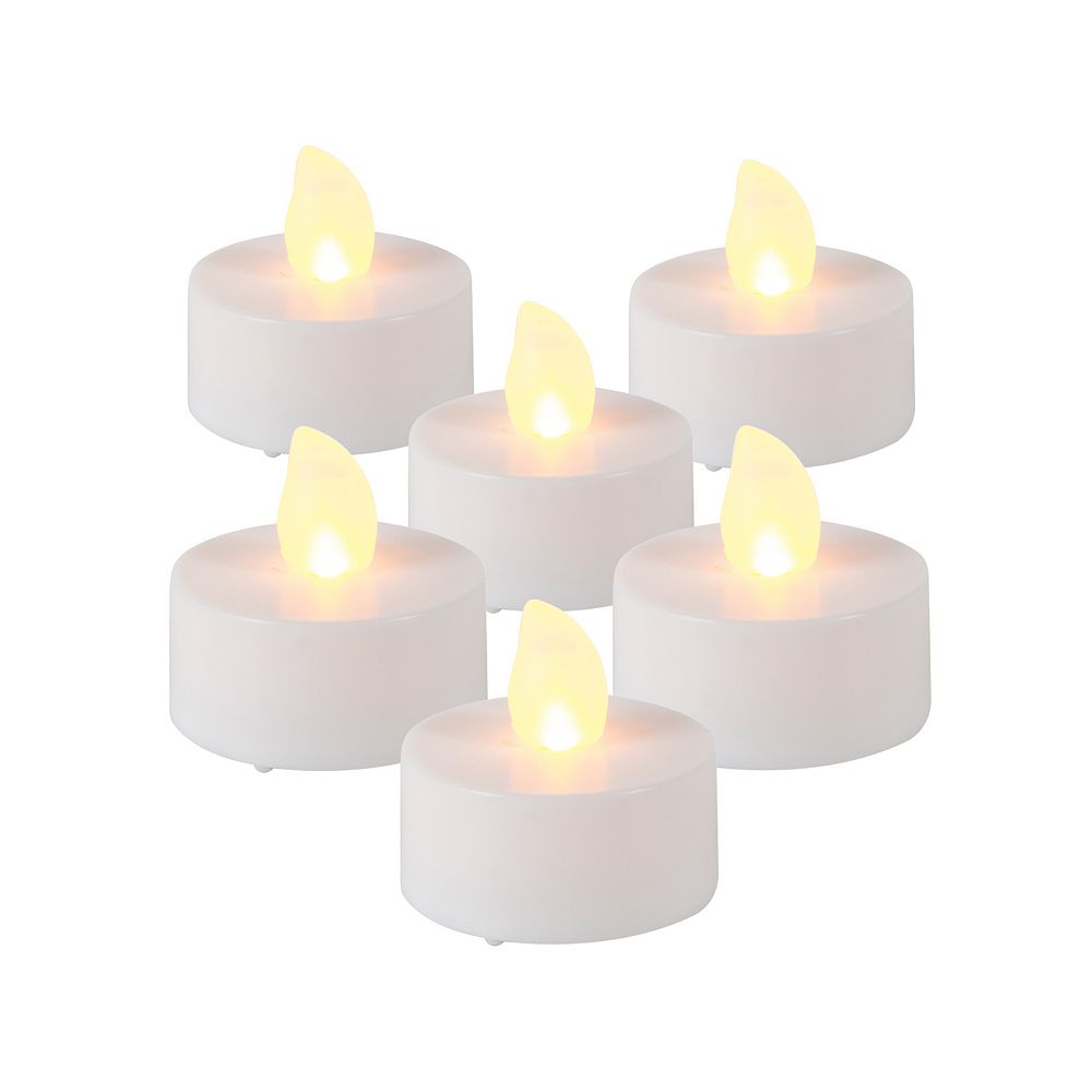 Home Accents Holiday LED Flickering Tealights with Timer (6-Pack)