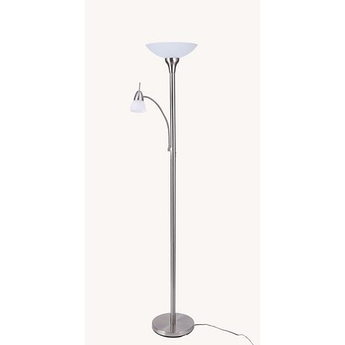 Black & Decker Black+Decker 72 Inches Silver LED Floor Lamp with Reading Light
